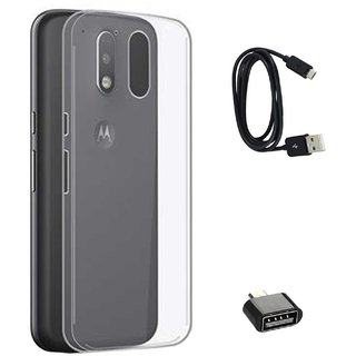 TBZ Transparent Silicon Soft TPU Slim Back Case Cover for Motorola Moto G4 Play with Cute Micro USB OTG Adapter and Data Cable