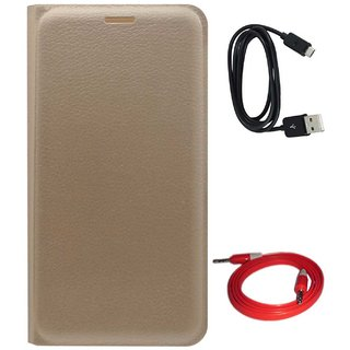 TBZ PU Leather Flip Cover Case for LYF Water 10 with Aux Cable and Data Cable -Golden