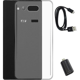 TBZ Transparent Silicon Soft TPU Slim Back Case Cover for Lyf Wind 4 with Micro USB OTG Connector Adapter and Data Cable