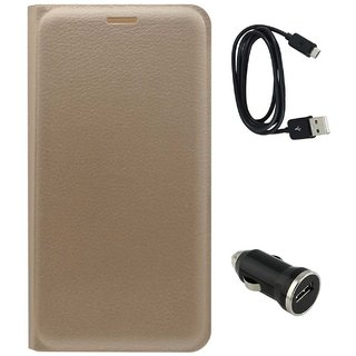 TBZ PU Leather Flip Cover Case for Samsung Z2 with Car Charger and Data Cable -Golden