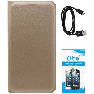 TBZ PU Leather Flip Cover Case for Motorola Moto G5 Plus with Data Cable and Tempered Screen Guard -Golden