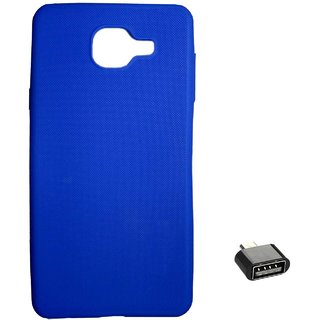TBZ Rubberised Silicon Soft Back Cover Case for Samsung Galaxy On Max with Cute Micro USB OTG Adapter  -Blue