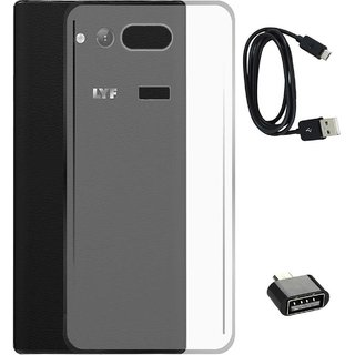 TBZ Transparent Silicon Soft TPU Slim Back Case Cover for Lyf Wind 4 with Cute Micro USB OTG Adapter and Data Cable