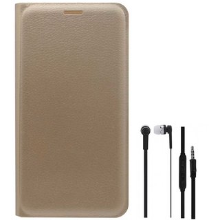 TBZ PU Leather Flip Cover Case for Gionee A1 with Earphone -Golden