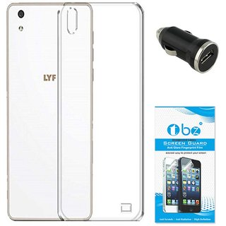 TBZ Transparent Silicon Soft TPU Slim Back Case Cover for Lyf Water 5 with Car Charger and Tempered Screen Guard