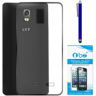 TBZ Transparent Silicon Soft TPU Slim Back Case Cover for Lyf Water 11 with Stylus Pen and Tempered Screen Guard