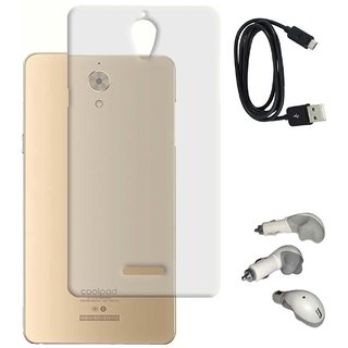 TBZ Transparent Silicon Soft TPU Slim Back Case Cover for Coolpad Mega with Car Charger and Data Cable