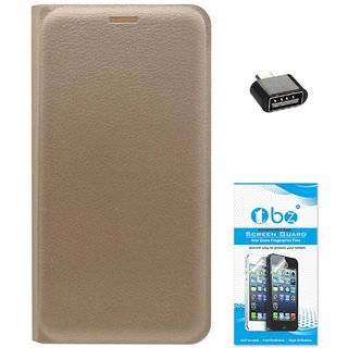 TBZ PU Leather Flip Cover Case for Gionee A1 with OTG Adaptor and Tempered Screen Guard -Golden