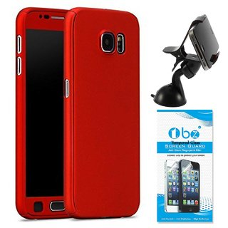 TBZ 360 Degree Protection Front & Back Case Cover Cover for Samsung Galaxy On Max with Flexible Lazy Stand and Tempered Screen Guard -Red