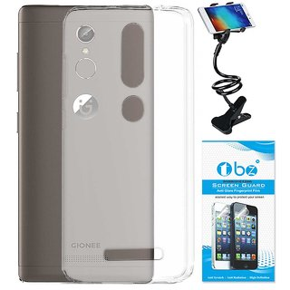 TBZ Transparent Silicon Soft TPU Slim Back Case Cover for Gionee S6s with Flexible Lazy Stand and Tempered Screen Guard