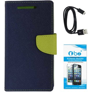 TBZ Diary Wallet Flip Cover Case for Gionee A1 with Data Cable and Tempered Screen Guard -Blue-Green