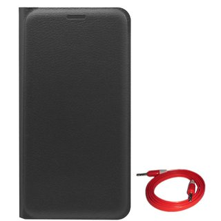 TBZ PU Leather Flip Cover Case for Coolpad Mega with AUX Cable -Black