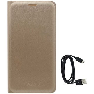 TBZ PU Leather Flip Cover Case for Lyf Water 7 with Data Cable -Golden