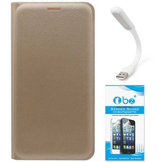 TBZ PU Leather Flip Cover Case for Moto E3 Power with Flexible USB LED Light and Tempered Screen Guard -Golden
