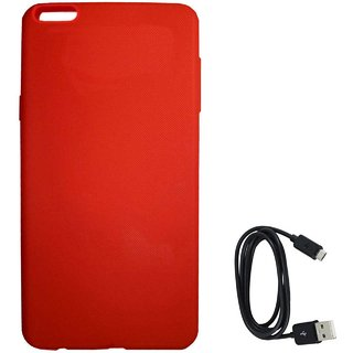 TBZ Rubberised Silicon Soft Back Cover Case for OnePlus 5 with C-Type Data Cable  -Red