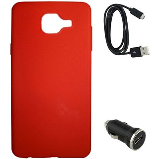 TBZ Rubberised Silicon Soft Back Cover Case for Samsung Galaxy J7 Max with Car Charger and Data Cable  -Red