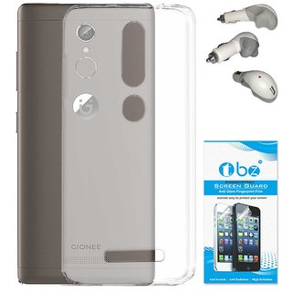 TBZ Transparent Silicon Soft TPU Slim Back Case Cover for Gionee S6s with Car Charger and Tempered Screen Guard