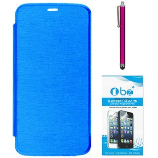 TBZ Flip Cover Case for Micromax Canvas A1 with Stylus Pen and Tempered Screen Guard -Blue