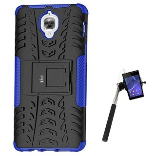 TBZ Hard Grip Rubberized Kickstand Back Cover Case for OnePlus 3 / OnePlus 3T with Selfie Stick Monopod with Aux -Blue