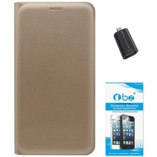 TBZ PU Leather Flip Cover Case for Gionee S6s with OTG Adaptor and Tempered Screen Guard -Golden