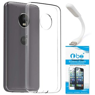 TBZ Transparent Silicon Soft TPU Slim Back Case Cover for Motorola Moto G5 Plus with Flexible USB LED Light Lamp and Tempered Screen Guard