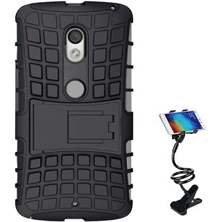 TBZ Hard Grip Rubberized Kickstand Back Cover Case for Moto E3 Power with Flexible Tablet/Phone Holder Lazy Stand -Black