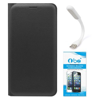 TBZ PU Leather Flip Cover Case for Samsung Z2 with Flexible USB LED Light and Tempered Screen Guard -Black