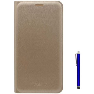 TBZ PU Leather Flip Cover Case for Lyf Water 7 with Stylus -Golden