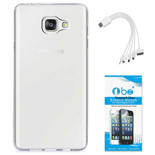 TBZ Transparent Silicon Soft TPU Slim Back Case Cover for Samsung Z4 with 5 in 1 Multi charging USB Cable and Tempered Screen Guard