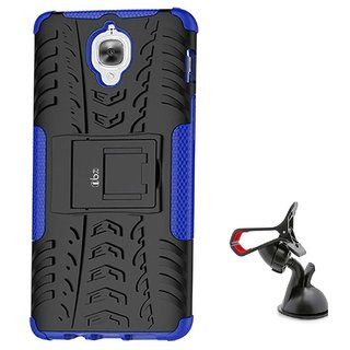 TBZ Hard Grip Rubberized Kickstand Back Cover Case for OnePlus 3 / OnePlus 3T with Mobile Car Mount Holder Stand -Blue