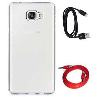 TBZ Transparent Silicon Soft TPU Slim Back Case Cover for Samsung Z4 with Aux Cable and Data Cable
