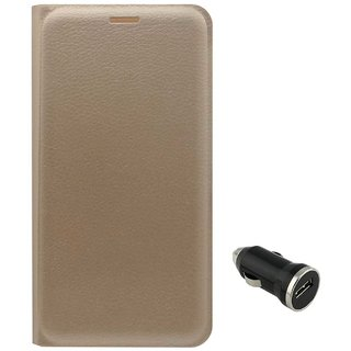 TBZ PU Leather Flip Cover Case for Coolpad Mega with Car Charger -Golden