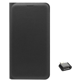 TBZ PU Leather Flip Cover Case for Lenovo K6 Power with Cute Micro USB OTG Adapter -Black