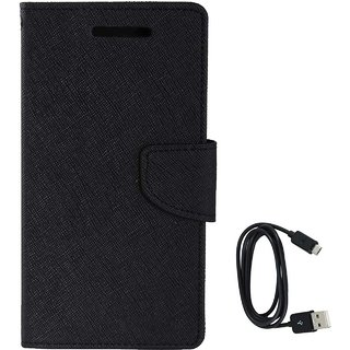 TBZ Diary Wallet Flip Cover Case for Oppo F1s with Data Cable -Black