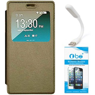 TBZ Window Premium Flip Cover Case for Vivo V5 with Flexible USB LED Light and Tempered Screen Guard -Golden