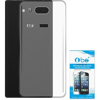 TBZ Transparent Silicon Soft TPU Slim Back Case Cover for Lyf Wind 4 with Tempered Screen Guard