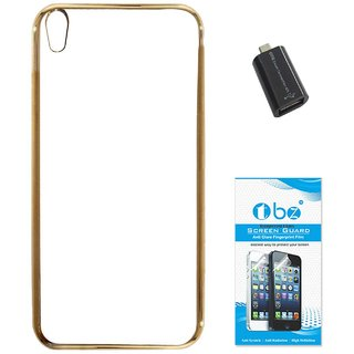 TBZ Transparent Electroplated Edges TPU Back Case Cover for Lyf Water 5 with OTG Adaptor and Tempered Screen Guard -Golden