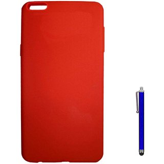 TBZ Rubberised Silicon Soft Back Cover Case for OnePlus 5 with Stylus  -Red