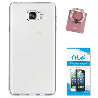 TBZ Transparent Silicon Soft TPU Slim Back Case Cover for Samsung Z4 with Phone Ring Holder and Tempered Screen Guard