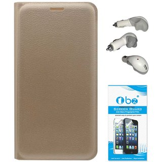 TBZ PU Leather Flip Cover Case for Lenovo K6 Power with Car Charger and Tempered Screen Guard -Golden