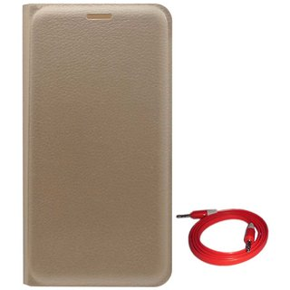 TBZ PU Leather Flip Cover Case for Motorola Moto E3 Power with AUX Cable -Golden