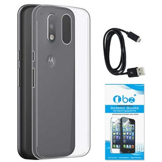 TBZ Transparent Silicon Soft TPU Slim Back Case Cover for Motorola Moto G4 Play with Data Cable and Tempered Screen Guard