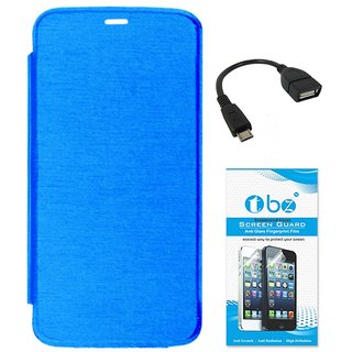 TBZ Flip Cover Case for Micromax Canvas A1 with OTG Cable and Tempered Screen Guard -Blue