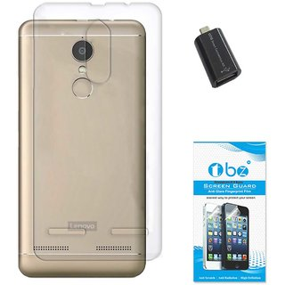 TBZ Transparent Silicon Soft TPU Slim Back Case Cover for Lenovo K6 Power with OTG Adaptor and Tempered Screen Guard