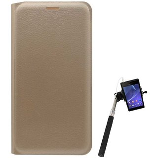 TBZ PU Leather Flip Cover Case for LeEco Le 2 with Selfie Stick Monopod with Aux -Golden