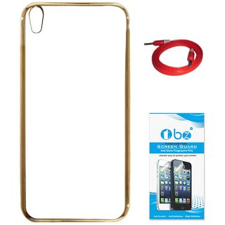 TBZ Transparent Electroplated Edges TPU Back Case Cover for Lyf Water 5 with AUX Cable and Tempered Screen Guard -Golden