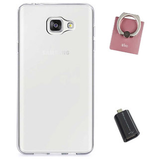 TBZ Transparent Silicon Soft TPU Slim Back Case Cover for Samsung Galaxy J7 Max with Mobile Ring Holder and USB OTG Adapter