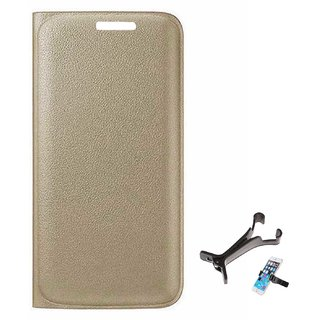 TBZ PU Leather Flip Cover Case for Motorola Moto M with Multi Stand Tablet/Phone Holder -Golden