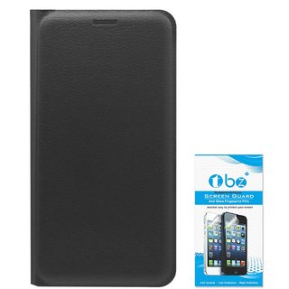 TBZ PU Leather Flip Cover Case for Huawei Honor Holly 3 with Tempered Screen Guard -Black