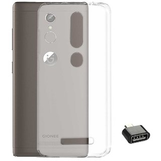 TBZ Transparent Silicon Soft TPU Slim Back Case Cover for Gionee S6s with Cute Micro USB OTG Adapter